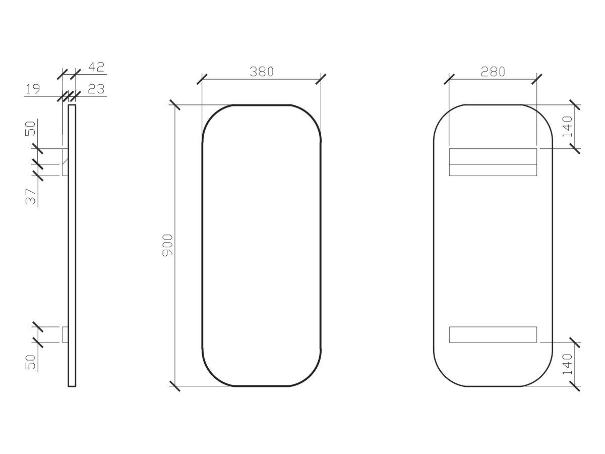 Issy Z1 Oval Mirror 380mm (Wide) x 900mm (Height) x 22mm (Deep)