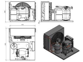 Tecumseh Condensing Unit R404A CAJT9510ZMHR-FZ-S 1 HP