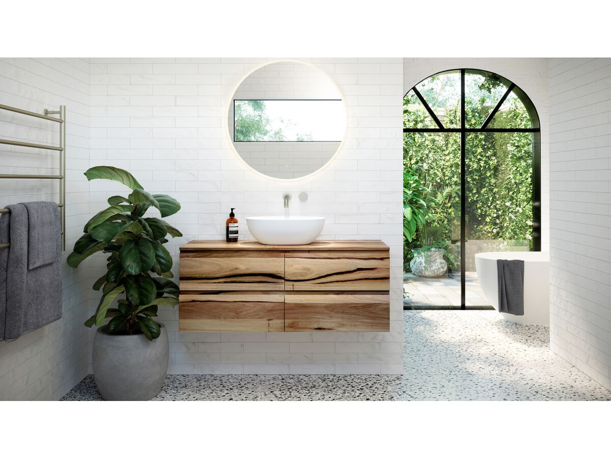 Kado Arc Timber Twin Drawer Vanity with Timber Top