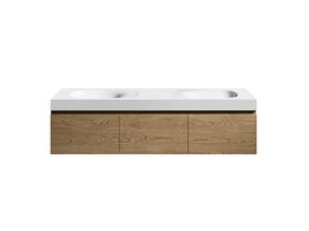 Kado Lussi 1500mm Wall Hung Vanity Unit Double Bowl with Three Soft Close Doors Timber Finish