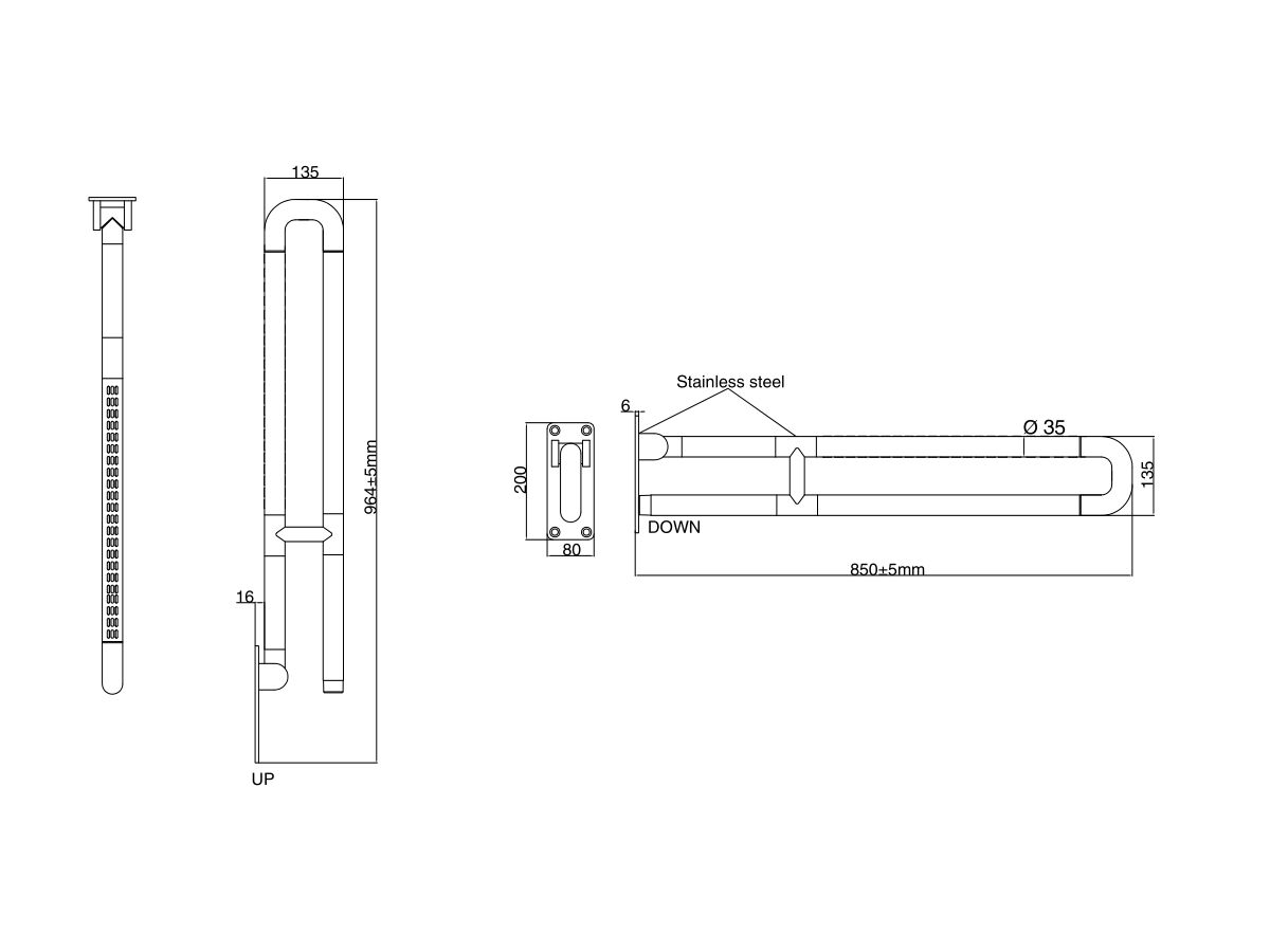 Wolfen Wall Mounted Support Arm White & Stainless Steel