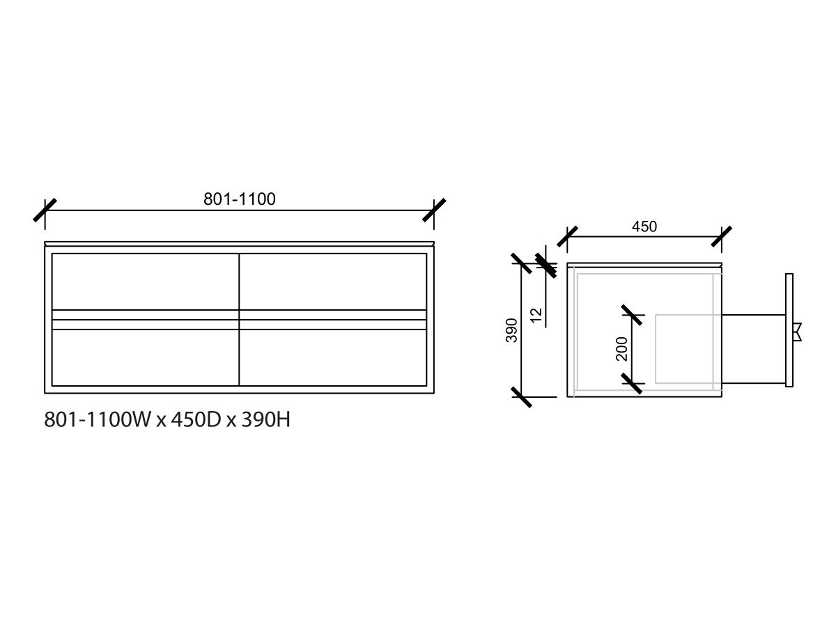 Issy Z8 Vanity Unit 4 Drawer Custom 801-1100
