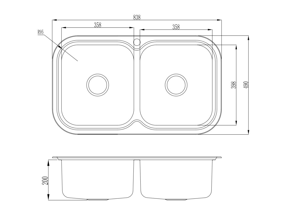 AFA Flow Double Bowl Undermount / Inset Sink 1 Taphole with Quick-Fit Clips 838 x 490mm Stainless Steel