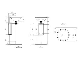 Alape Circa Freestanding Basin with Fixings 400mm White
