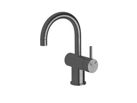 Scala Basin / Sink Mixer Tap Small Curved Spout Right Hand LUX PVD Brushed Smoke Gunmetal (4 Star)