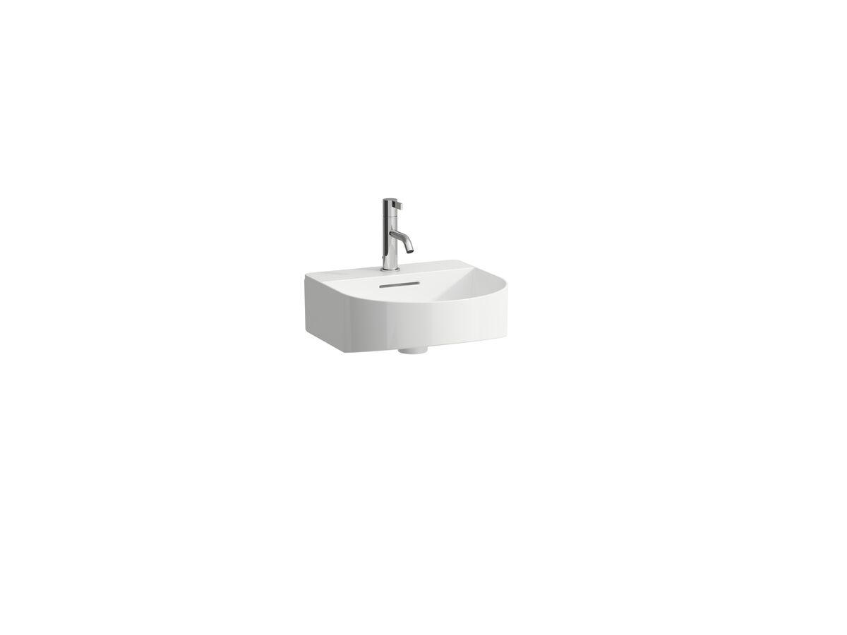 LAUFEN Sonar Wall Basin with Overflow 1 Taphole 410x420 with Fixing Bolts White