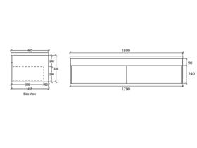 Acqua Wall Hung Vanity Unit 1800mm Caesarstone Surface 20mm Top
