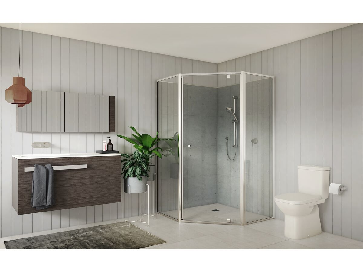 Creative Glass Semi-Framed Adjustable Corner/ Angled Shower Screen with Pivot Door - Clear Toughened Glass and Polished Silver Frame
