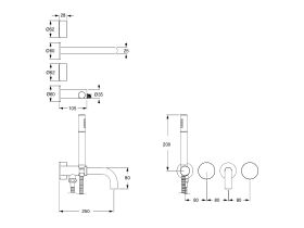 Milli Pure Progressive Bath Mixer Tap System 250mm with Hand Shower Right Hand