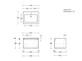 Posh Domaine All-Drawer Single 600 Wall Hung Acrylic