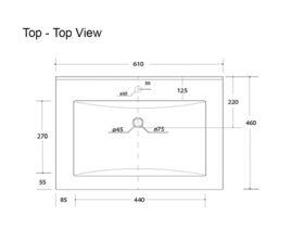 Posh Solus Wall Hung Vanity Unit Open Shelf (Ceramic Top) 1 Drawer 600mm