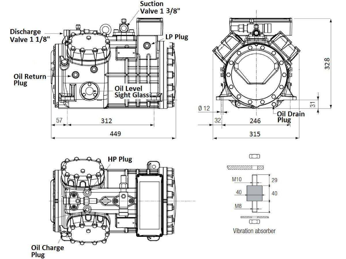 Tecumseh Semi Hermetic Compressor SH4610Z