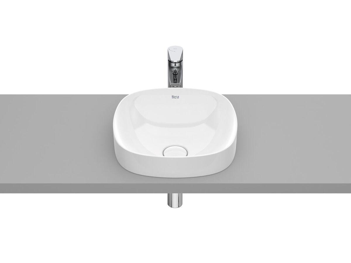 Roca Inspira Soft Square Semi Inset Basin 370mm x 370mm Gloss White