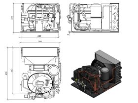 Tecumseh HTA Condensing Unit 1/5hp R134 MHBP AET4425YHR-FZ1A