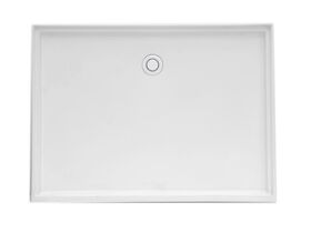Posh Solus Polymarble Rectangle Shower Base Rear Outlet 1200 x 900mm White