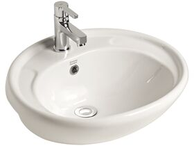 American Standard Heron Semi Recessed Basin with Fixing Kit 1 Taphole White