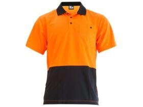 Mak Workwear SS Polo Orange/Navy S