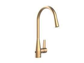 Memo Sia Sensor Gooseneck Sink Mixer Tap Dual Function Right Hand Lever Brushed Brass (4 Star)