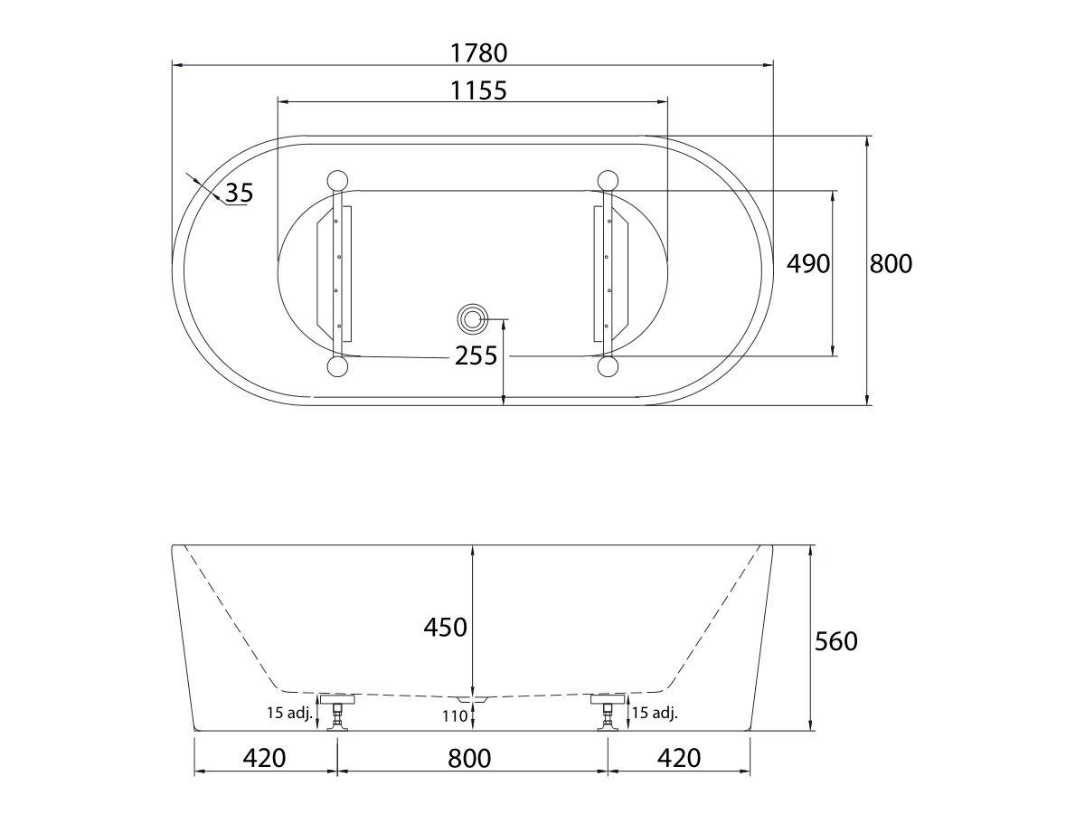 Posh Solus Freestanding Bath 1780 x 800 x 560mm White