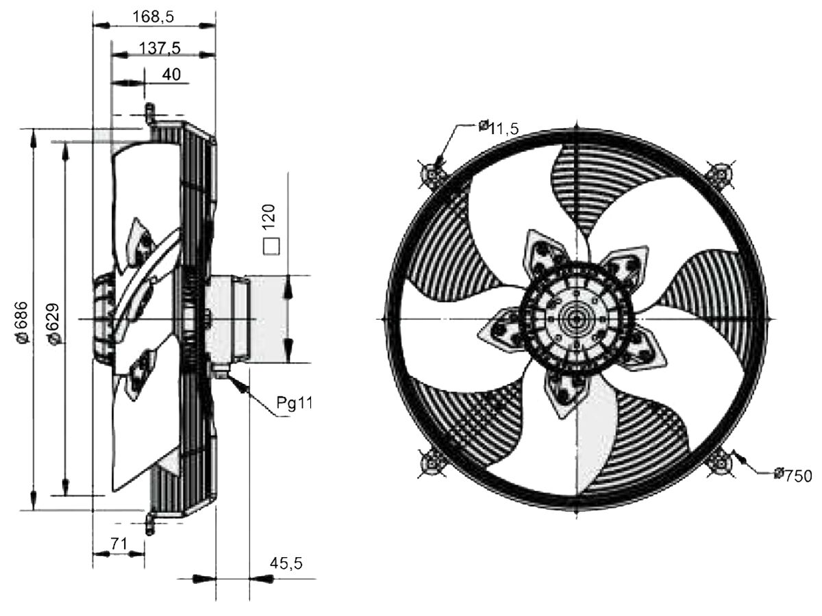 SolerPalau Fan 630mm 3Ph HRT/6-630/30BPN