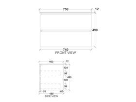 Kado Arc Timber Twin Drawer 750 Vanity Corian 12mm Top