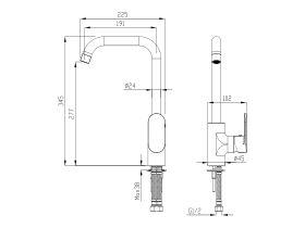 Mizu Soothe Square Gooseneck Sink Mixer Chrome (4 Star)