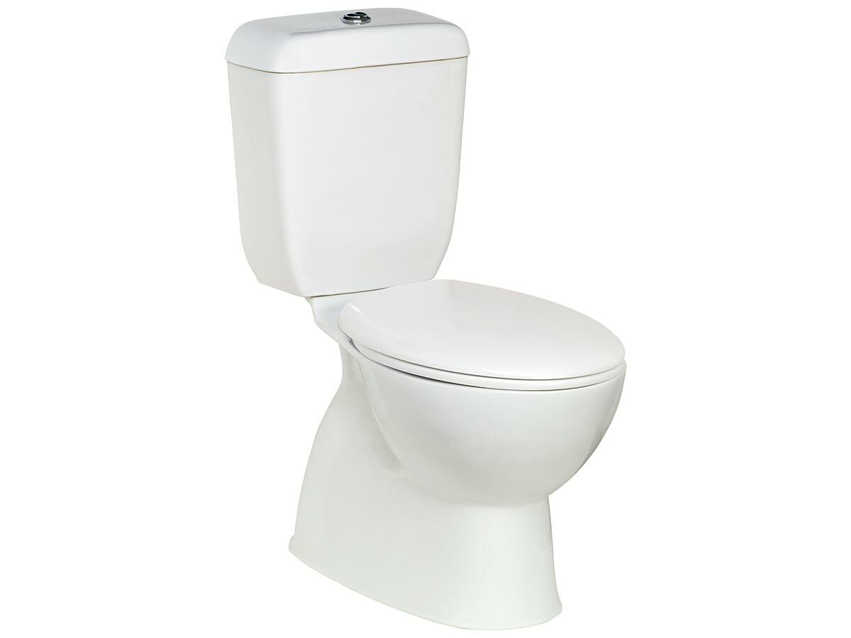 Posh Solus Round Toilet Suite Closed Coupled P-Trap with Quick Release Soft Close Seat White/Chrome (4 Star)