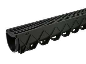 1mtr Storm Drain with Black Plastic Grate