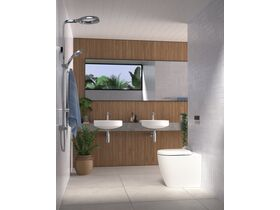 Caroma Forma Semi Recess Basin 1 Taphole/Forma Close Coupled Over Height Rimless Toilet Suite