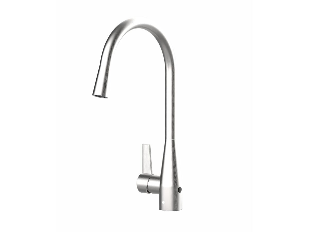 Memo Sia Sensor Gooseneck Sink Mixer Tap Dual Function Left Hand Lever Brushed Chrome (4 Star)