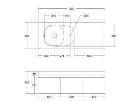 Kado Lussi 1200mm Wall Hung Vanity Unit with Three Soft Close Doors Timber Finish