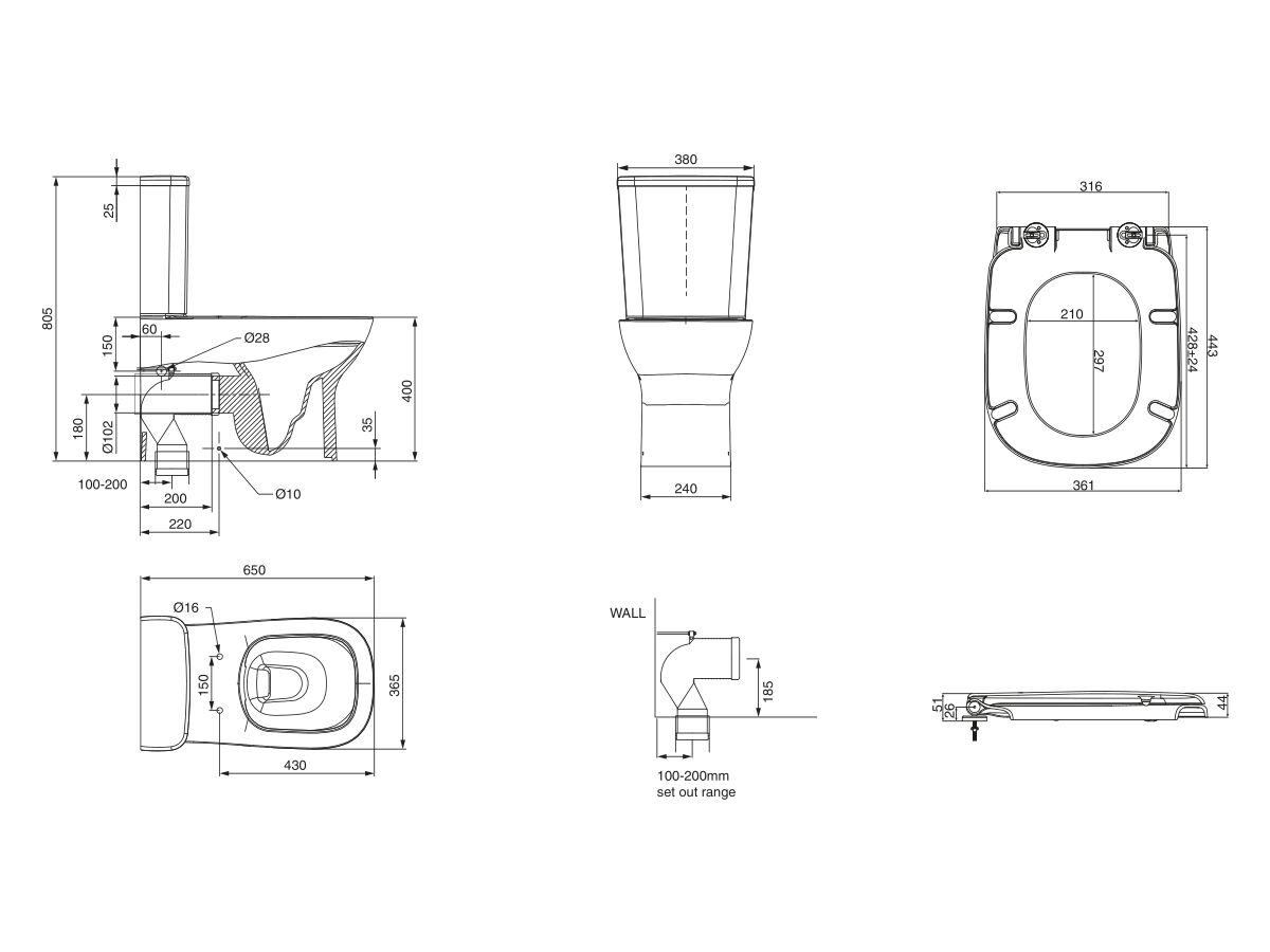Posh Domaine Rimless Close Coupled Back to Wall Toilet Suite Bottom Inlet with Soft Close Quick Release Seat (4 Star)