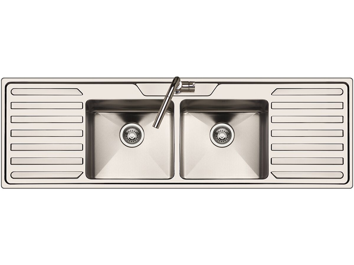 AFA Cubeline Double Bowl Double Drainer Inset Sink 1 Taphole 1600mm Stainless Steel