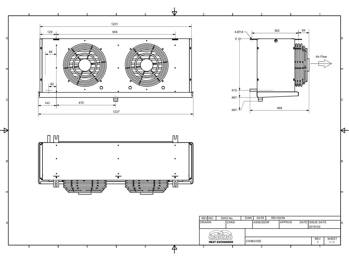 Cabero Evaporator Medium Temperature CH4B2-30-1