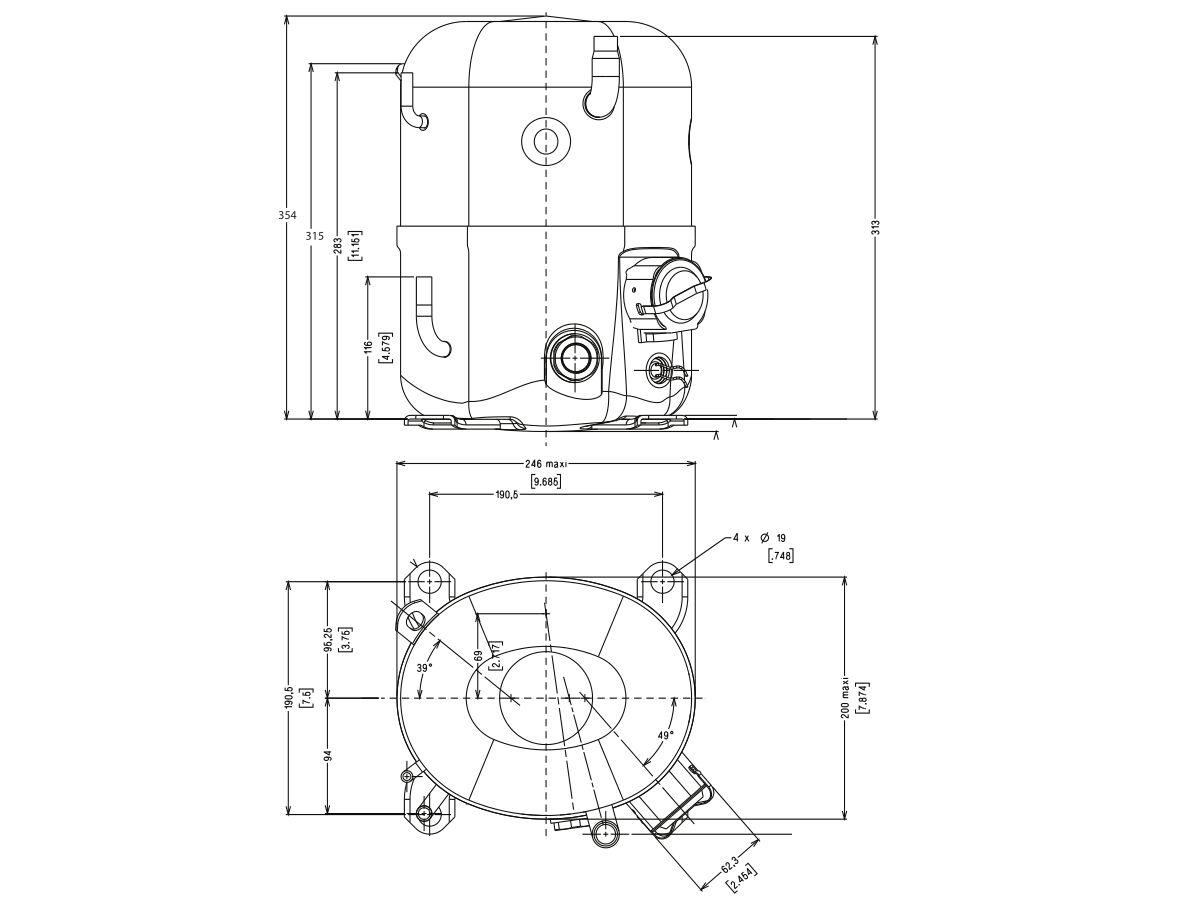 Tecumseh Compressor 2hp R22 MHBP TFH5524E TUBE