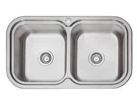 AFA Flow Double Bowl Undermount / Inset Sink 1 Taphole 838 x 490mm Stainless Steel