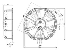 Technical Drawing - EBM Fan 230mm W1G230EB9122-CT2