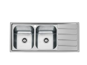 Posh Solus MK3 Double Bowl Inset Sink, 1 Taphole, Left Hand Bowl Stainless Steel