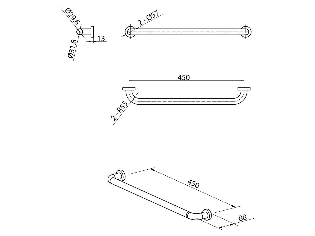 Mobi Grab Rail 450mm Satin Stainless Steel