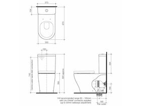 Caroma Luna Wall Faced Close Coupled Back Entry Toilet Suite Soft Close Seat White (4 Star)