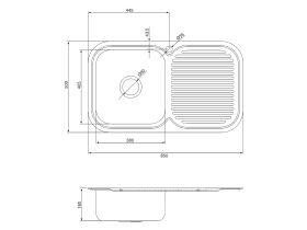 Base MK3 Single Bowl Sink 1 Taphole Left Hand Bowl 850mm Stainless Steel