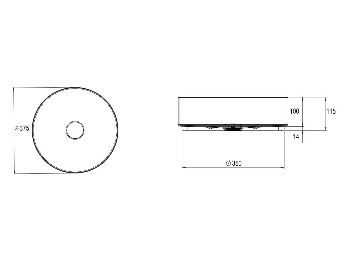 Alape Unisono Counter Basin No Taphole 375mm Matte Black