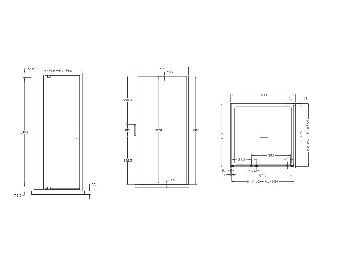 Base MKII Shower System with Centre Outlet 1000mm x 1000mm Chrome
