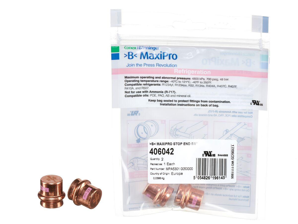 """>B< Maxipro Stop End 5/8"""" Bag of 2"""""""