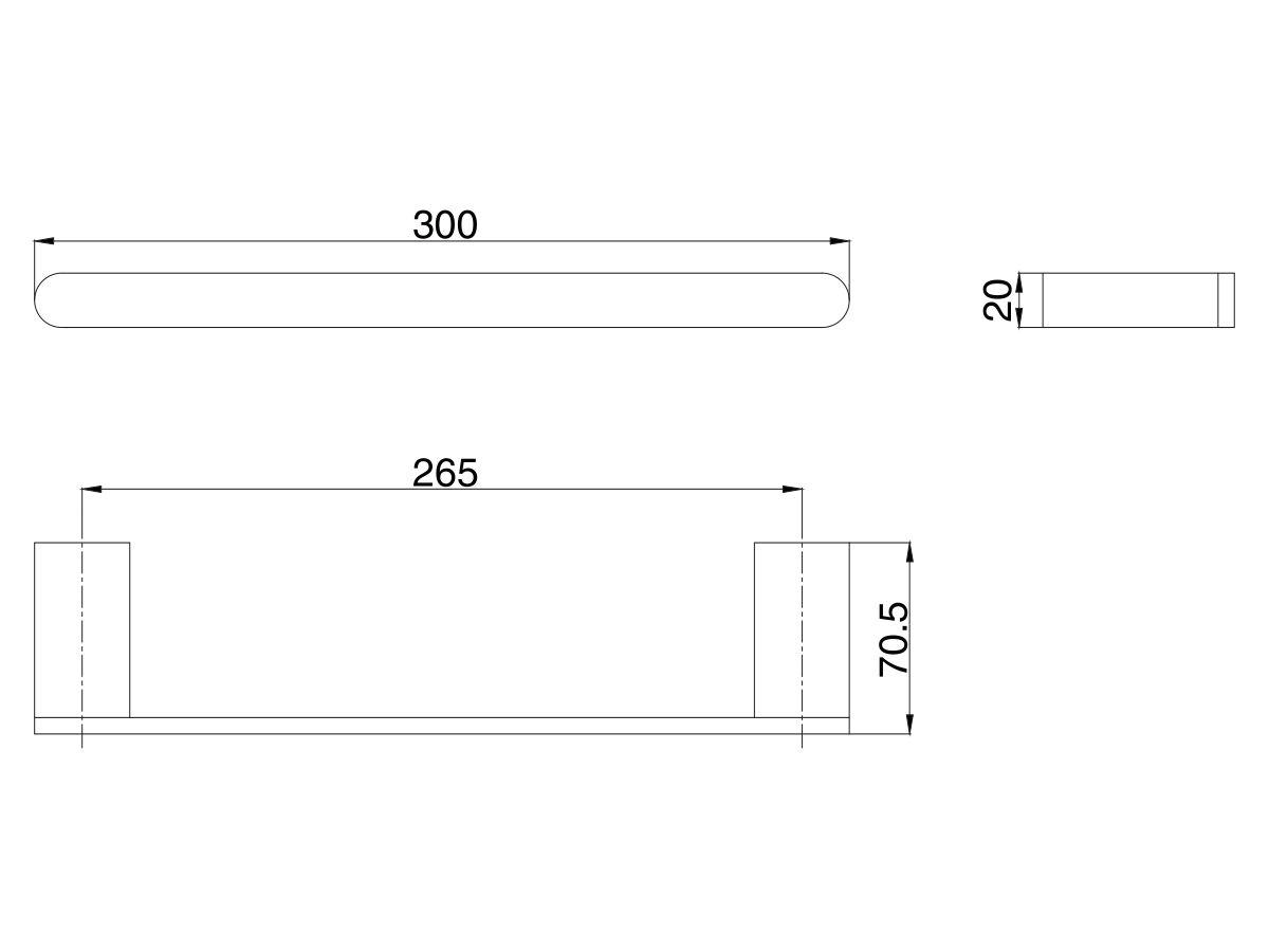 Mizu Soothe Single Towel Rail 300mm Chrome