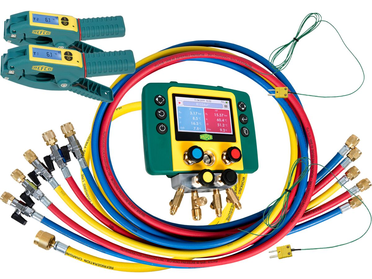 """Refmate 4 Digital Manifold With 2 Temperature Sensors & 5 x 60"""" Hoses With Ball Valves & 2 Wireless Temperature Clamps"""""""