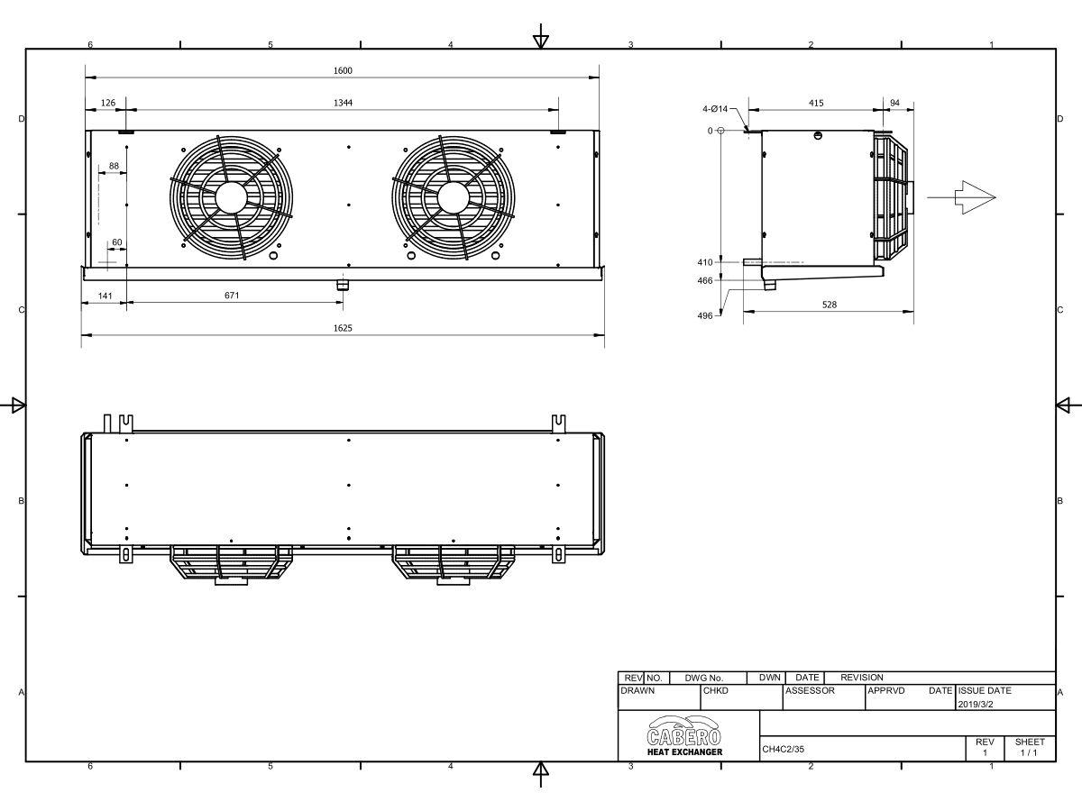 Cabero Evaporator Medium Temperature CH4C2-35-1