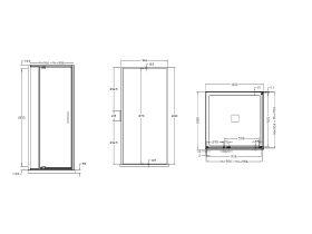 Base MKII Shower Screen & Shower Base with Centre Outlet 1000mm x 1000mm White & Chrome