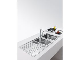 Franke Rapid RPX621 Double Bowl Inset Sink Right Hand Bowls-Left Hand Drain Stainless Steel