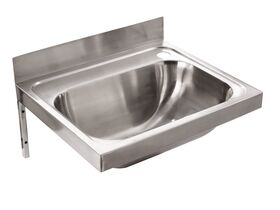 Wolfen Wall Hand Basin 500x420mm with Brackets Right Hand 1 Taphole Stainless Steel